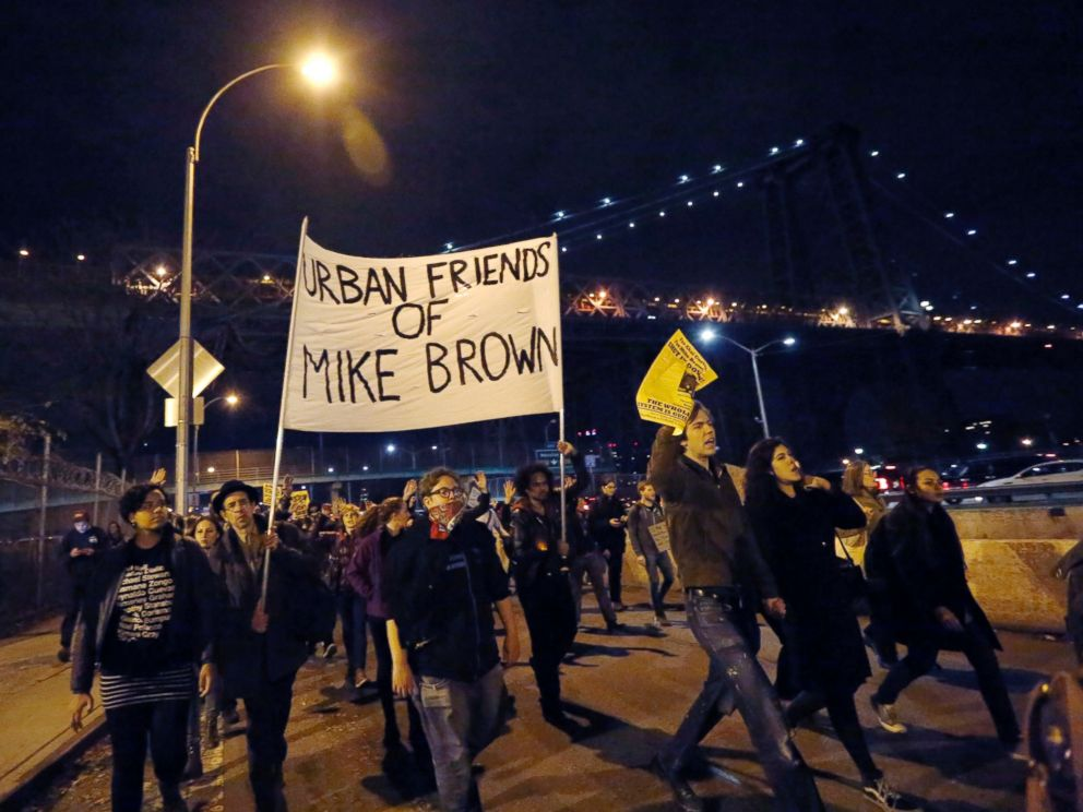 PHOTO: Protesters walk on the FDR Drive during a march in support of the people of Ferguson on the second night of protests after a Missouri grand jury refused to indict police officer Darren Wilson for shooting Michael Brown, in New York, Nov. 25, 2014.