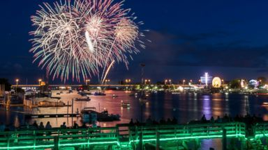 PHOTO: Fireworks light up the sky for the Firework Festival during the fireworks display on July 3, 2014, over the Saginaw River in downtown Bay City. Mich.