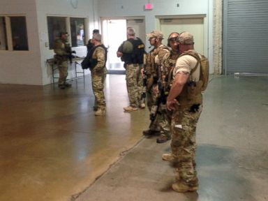 PHOTO: Members of the Garland Police Department are stand inside the Curtis Culwell Center on Sunday, May 3, 2015, in Garland, Texas.