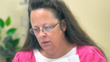 PHOTO: Rowan County Clerk Kim Davis performs her job at the Rowan County Courthouse in Morehead, Ky., Aug. 18, 2015.