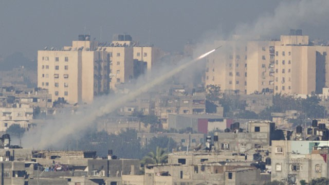 PHOTO: A rocket launched by Palestinians militants towards Israel makes its way from the northern Gaza Strip, seen from the Israel Gaza Border, southern Israel,Thursday, Nov. 15, 2012.