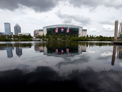 PHOTO:&nbsp;In this photo taken Aug. 22, 2012, the Tampa Bay Times Forum, site of the 2012 Republican National Convention, is viewed across the water of the Garrison Channel from Harbour Island in downtown Tampa, Fla. Weather forecasts continue to show Florida
