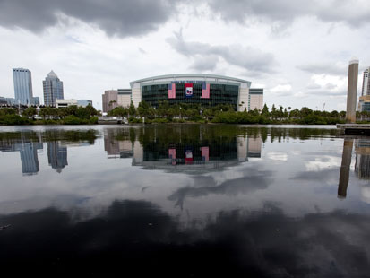 PHOTO: In this photo taken Aug. 22, 2012, the Tampa Bay Times Forum, site of the 2012 Republican National Convention, is viewed across the water of the Garrison Channel from Harbour Island in downtown Tampa, Fla. Weather forecasts continue to show Florida