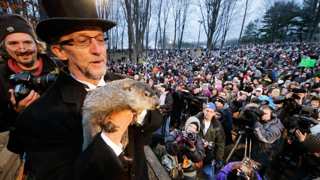PHOTO: Groundhog Club handler Ron Ploucha holds Punxsutawney Phil, the weather prognosticating groundhog, during the 126th celebration of Groundhog Day on Gobbler's Knob in Punxsutawney, Pa., Feb. 2, 2012.