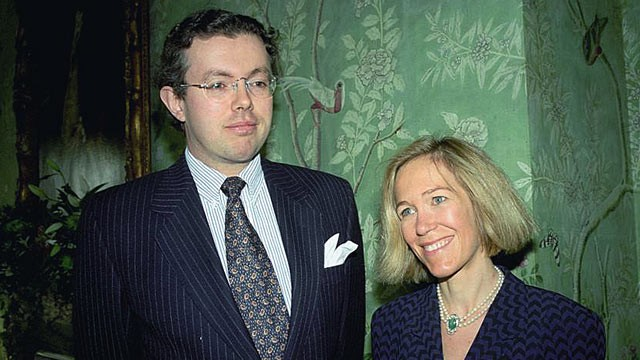 PHOTO: Eva Rausing, right, and her husband Hans Kristian Rausing are shown at Winfield House, in London, in this 1996 file photo.