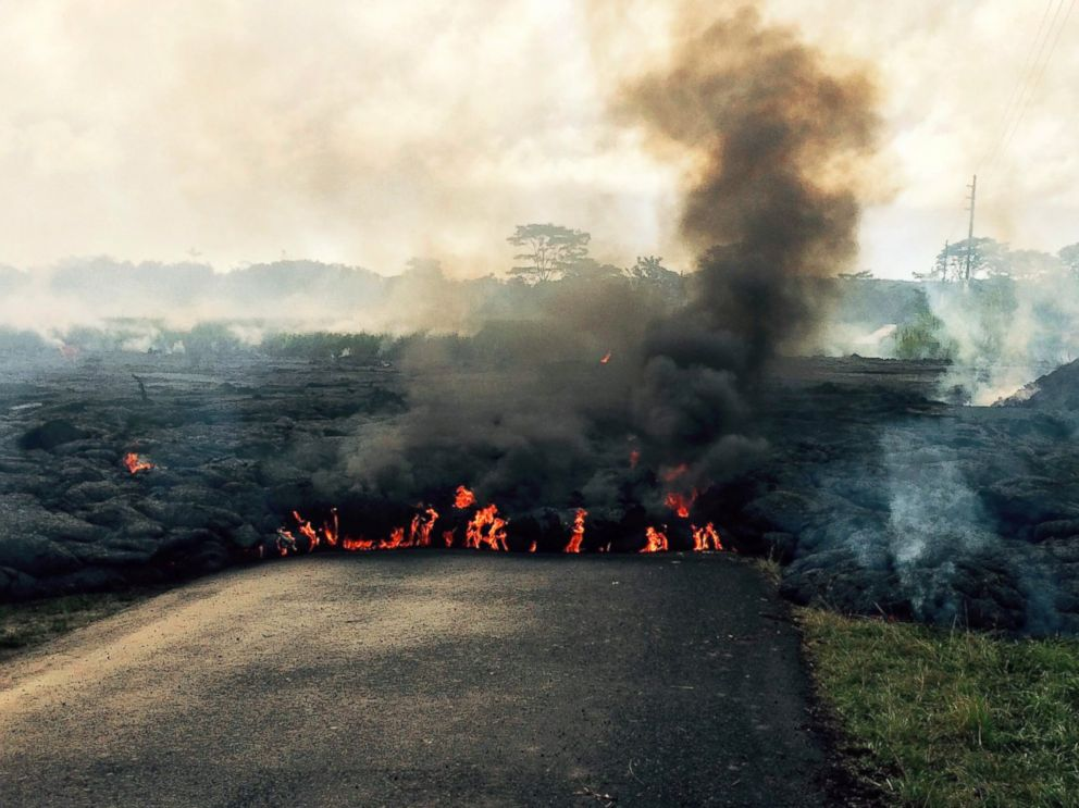 PHOTO: The lava flow from Kilauea Volcano that began June 27 is seen as it crosses Apaa Street near the town of Pahoa on the Big Island of Hawaii in this, Oct. 24, 2014, photo from the U.S. Geological Survey.