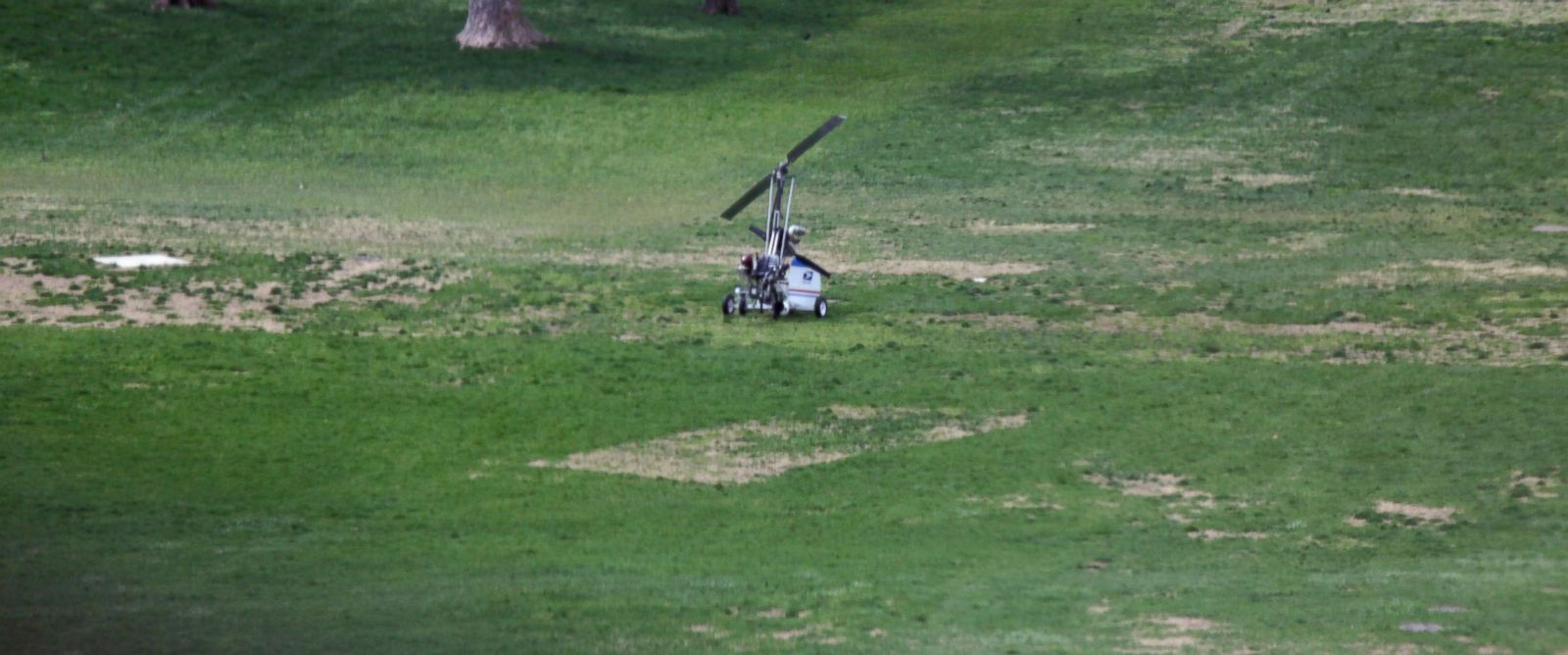 PHOTO: A small device resembling a helicopter is seen on the West Front of the Capitol in Washington, April 15, 2015, after landing.