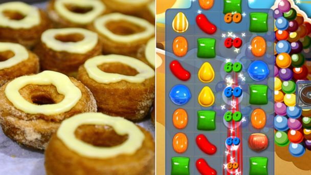 PHOTO: Cronuts, seen in this June 14, 2013 file photo, and the game Candy Crush, seen in this undated grab.