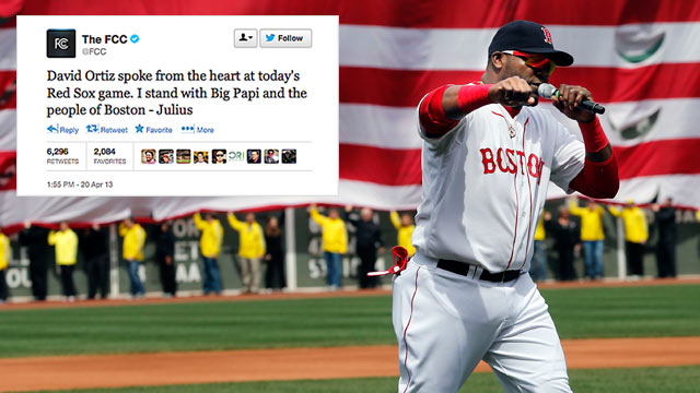 PHOTO: Boston Red Sox's David Ortiz pumps his fist after addressing the crowd before the Red Sox game in Boston, April 20, 2013./After using an expletive during his speech, @FCC tweeted that he was speaking from the heart.