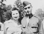 PHOTO: 2nd Lt. Hyman Markel stands with with wife, Celia Markel. Markel was a rabbis son, brilliant at mathematics, the brave winner of a Purple Heart who died in 1945.