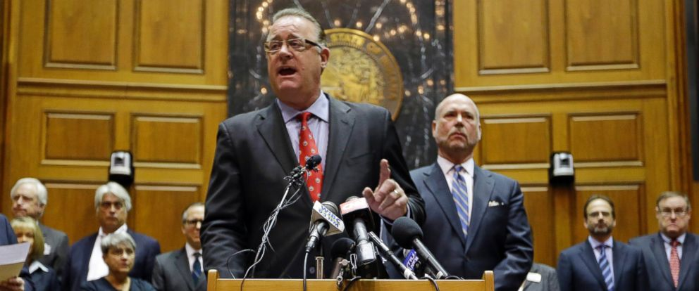 PHOTO: Indiana Senate President Pro Tem David Long and House Speaker Brian C. Bosma announce changes to the states new religious objections law during a press conference in the House chamber at the Statehouse in Indianapolis, April 2, 2015.