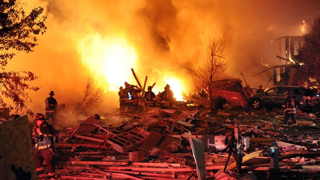 PHOTO: Authorities say a loud explosion has leveled a home in Indianapolis and set four others ablaze in a neighborhood, causing several injuries. Capt. Rita Burris with the Indiana Fire Department told The Associated Press that firefighters are still wor