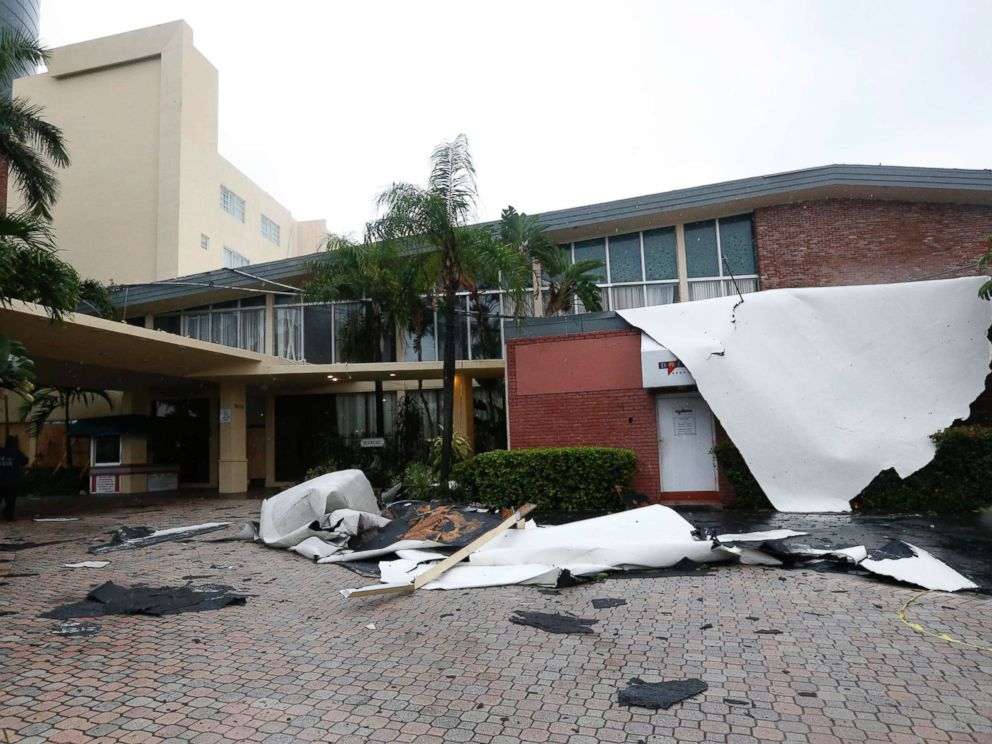 PHOTO: Roof damage caused by high winds brought on by Hurricane Irma is shown, Saturday, Sept. 9, 2017, in Sunny Isles Beach, Fla.