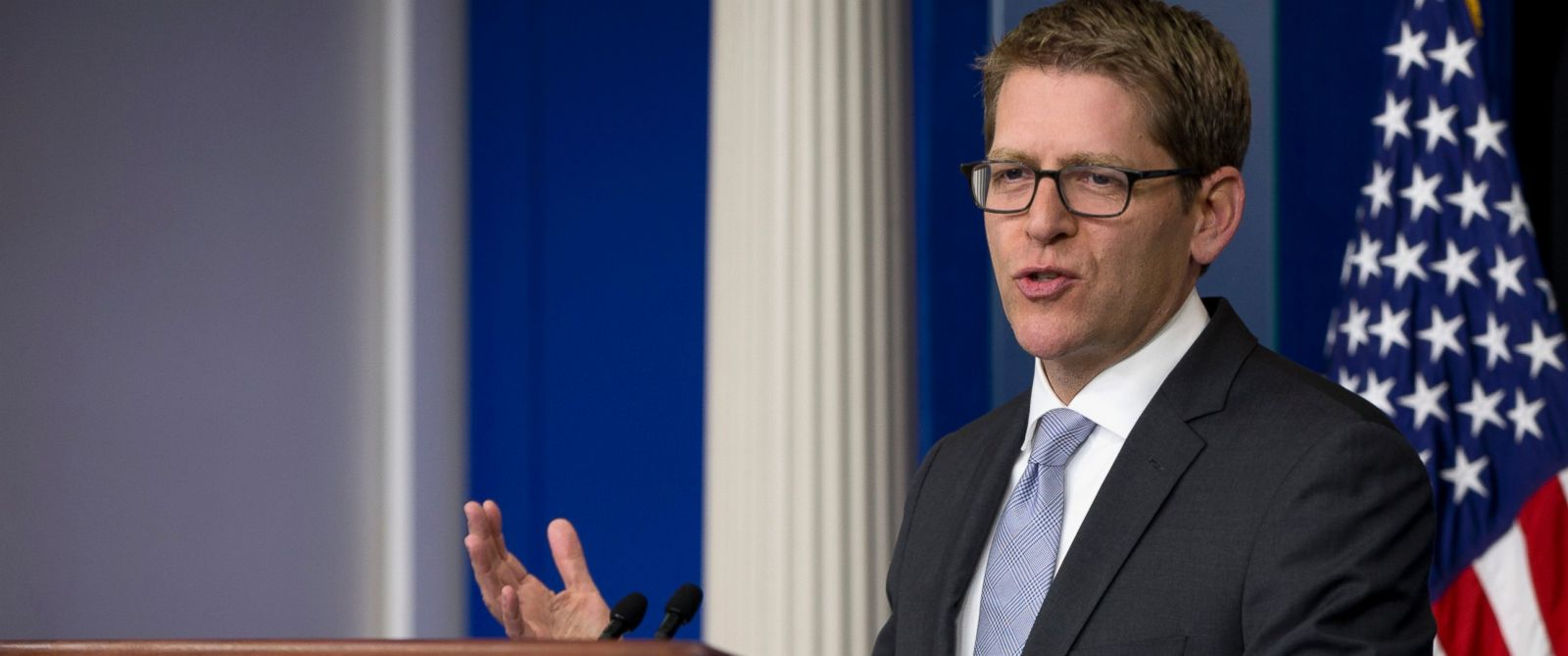 PHOTO: White House press secretary Jay Carney speaks during the daily news briefing at the White House in Washington, in this May 16, 2014 file photo.