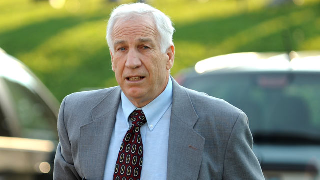 PHOTO: Jerry Sandusky arrives at the courthouse, June 21, 2012, for closing arguments of his sexual abuse trial, at the Centre County Courthouse, in Bellefonte, Pa.