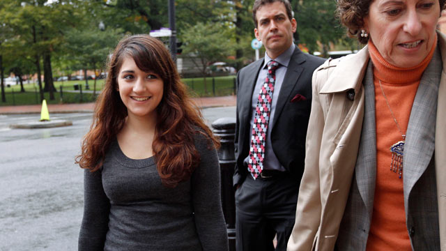 PHOTO: Jessica Ahlquist, 16, left, arrives at U.S. District Court, in Providence, R.I., with her attorney Lynette Labinger, right, in this Oct. 13, 2011 file photo.