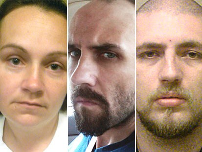 PHOTO: Three undated photos provided by the Department of Justice show Jessica L. Hunt, left, Daniel Brown, center, and Jordie L. Callahan, right.