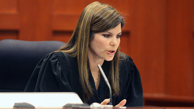 PHOTO: Circuit Judge Jessica Recksiedler holds a status hearing, April 13, 2012, in Sanford, Fla., in the second-degree murder case against neighborhood watch volunteer George Zimmerman.
