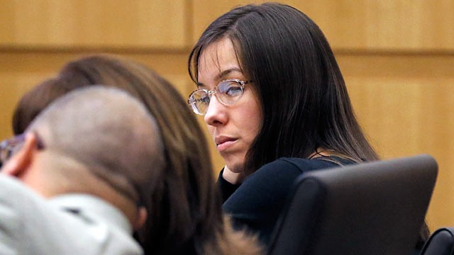 Jodi Arias watches her lawyers speak during her trial in Maricopa ...