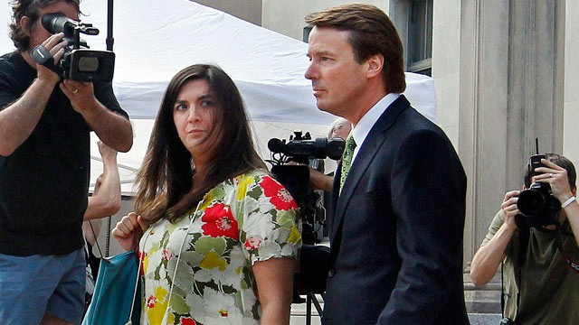 PHOTO: After a reporter yells a question about testimony in today's court proceedings Cate Edwards glances at her father, former Sen. John Edwards as they leave the Federal Courthouse in Greensboro, N.C., May 2, 2012.