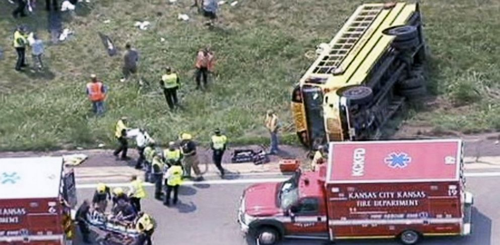 PHOTO: Overturned school bus
