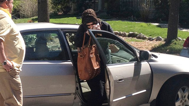 PHOTO: Katherine Russell Tsarnaev, center, wife of killed Boston Marathon bombing suspect Tamerlan Tsarnaev, exits a car at the home of her parents in North Kingstown, R.I., April 21, 2013. At left is her father, Warren Russell.