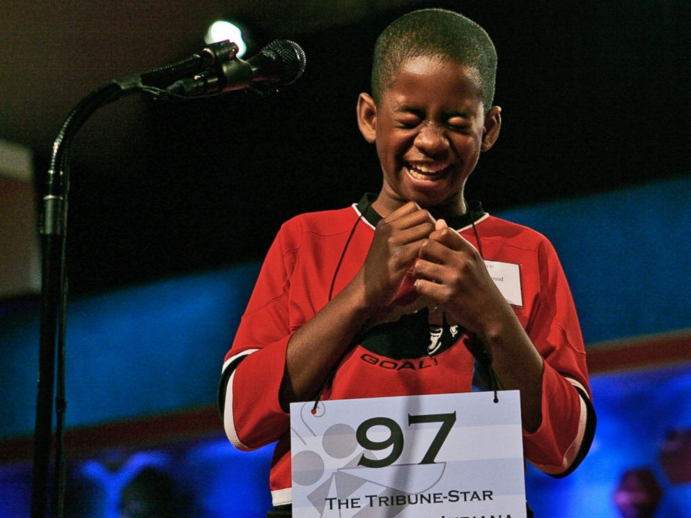 PHOTO: Kennyi Aouad, 11, of Terre Haute, Ind., bursts into laughter when asked to spell the word, Sardoodledom, in round three of the 2007 Scripps National Spelling Bee in Washington, May 30, 2007.