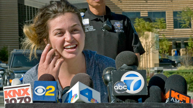 PHOTO: Kyndall Jack, one of the two hikers who became lost for nearly a week in the Cleveland National Forest last week, talks about her ordeal and thanks rescuers during a news conference outside UCI Medical Center in Orange, Calif., on April 8, 2013.