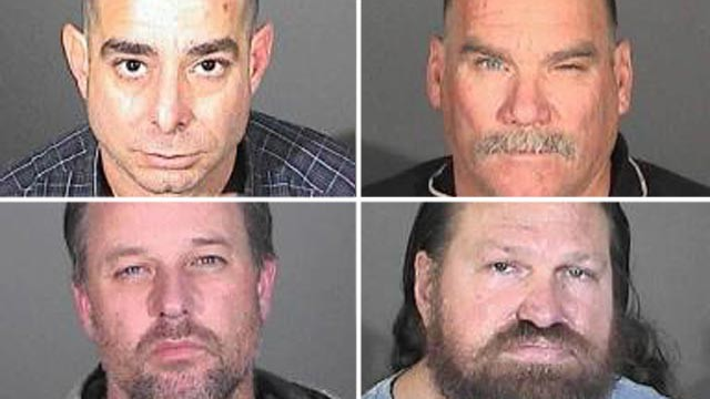 PHOTO: Randall Whitmore, top left, Edwin Valentine, top right, Joshua Box, bottom left, and Duane Van Tuinen, bottom right, are seen in these booking photos provided by Los Angeles County Sheriff's Department in connection with a series of buglaries targe