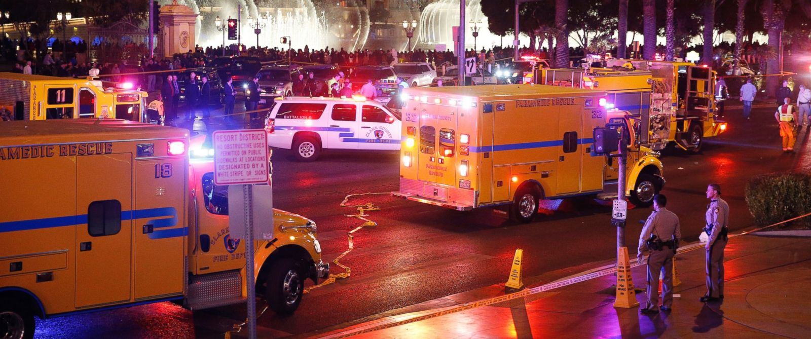 PHOTO: Police and emergency crews respond to the scene of a car accident along Las Vegas Boulevard, Sunday, Dec. 20, 2015, in Las Vegas.