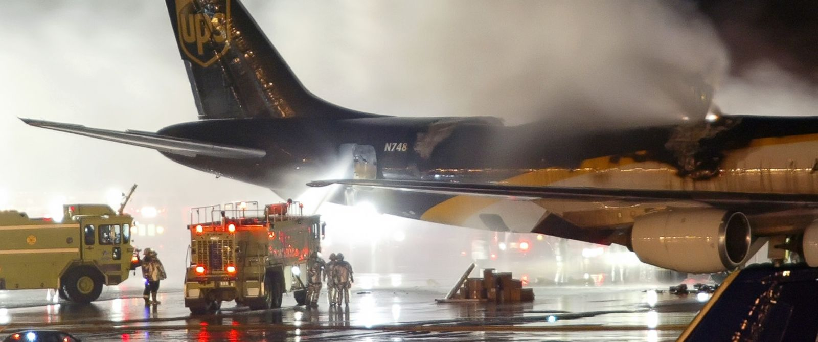 PHOTO: Firefighters battle a blaze on-board a UPS cargo plane, Feb. 8, 2006, at Philadelphia International Airport in Philadelphia.