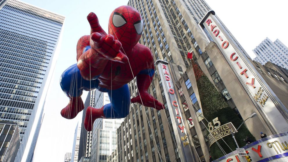 PHOTO: The Spider-Man balloon floats in the Macys Thanksgiving Day Parade in New York, Nov. 22, 2012.