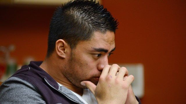 PHOTO:&nbsp;In a photo provided by ESPN, Notre Dame linebacker Manti Te'o pauses during an interview with ESPN on Friday, Jan. 18, 2013, in Bradenton, Fla.
