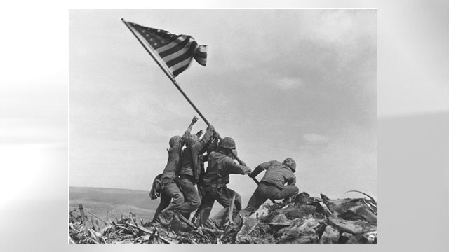 PHOTO: U.S. Marines of the 28th Regiment, 5th Division, raise the American flag atop Mt. Suribachi in Iwo Jima, Japan, Feb. 23, 1945.