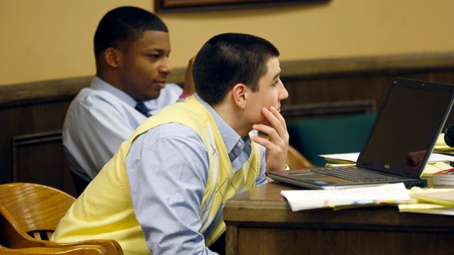 PHOTO: Trent Mays, 17, front, and co-defendant 16-year-old Malik Richmond sit at the defense table during a recess of their trial on rape charges in juvenile court, March 14, 2013, in Steubenville, Ohio. Mays and Richmond are accused of raping a 16-year-