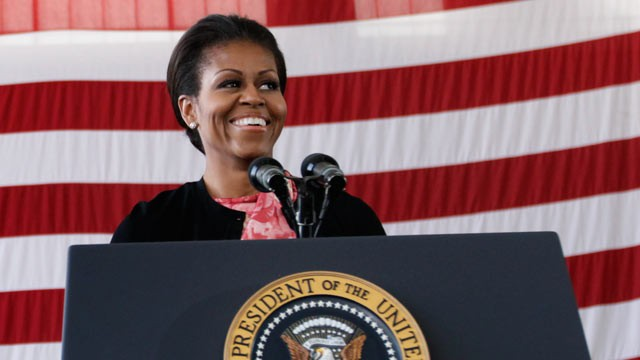 PHOTO: First Lady Michelle Obama at the 440th Structural Maintenance Hangar at Fort Bragg, N.C. in this Dec. 14, 2011 file photo.