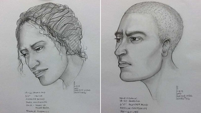 PHOTO: These composite sketches provided by the Los Angeles Police Department, Nov. 13, 2012, show a suspect, right, in the possible abduction of a teenage girl, right, after witnesses reported seeing the suspect drag the victim away by her hair.