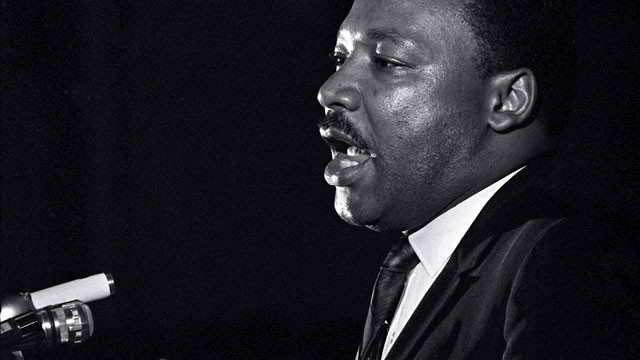PHOTO: Dr. Martin Luther King Jr. makes his last public appearance at the Mason Temple in Memphis, Tenn., on April 3, 1968.  The following day King was assassinated on his motel balcony.