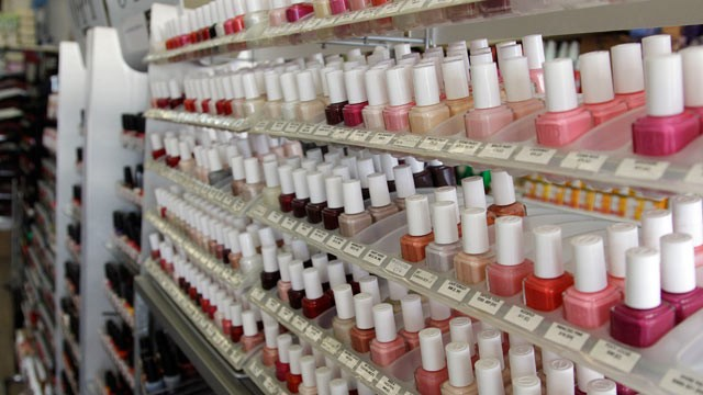 PHOTO: Nail care products are displayed at a beauty supply shop in San Francisco,  on April 9, 2012.
