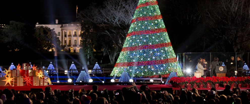 PHOTO: President Barack Obama and the first family stands, right, after lighting the 2014 National Christmas Tree during the National Christmas Tree lighting ceremony at the Ellipse near the White House in Washington, Dec. 4, 2014.