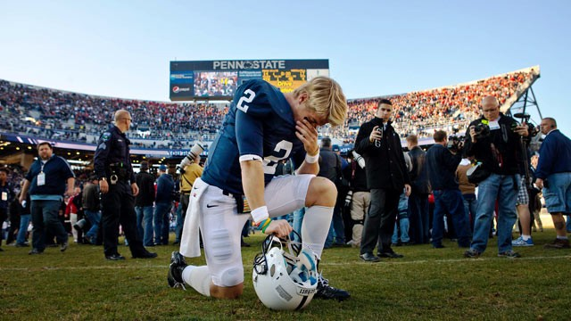PHOTO: Penn State's Shane McGregor takes a knee after his team's 17-14 loss to Nebraska in an NCAA college football game Nov. 12, 2011, in State College, Pa.