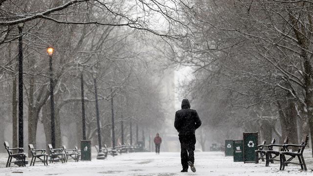PHOTO: A pedestrian walks through the snow in Washington Park, Feb. 8, 2013, in Albany, New York.