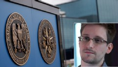 National Security Agency plaques are seen at the compound at Fort Meade, Md., June 6, 2013. Edward Snowden, seen here in an interview with The Guardian newspaper, told the newspaper he was the source of a series of leaked documents from the NSA.
