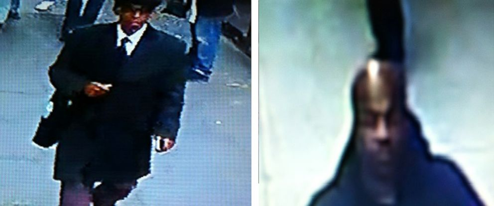 PHOTO: This image provided by the New York City Police Department shows surveillance video images the two men who are suspected of robbing a New York City jewelry store at gunpoint in broad daylight, Nov. 11, 2014.