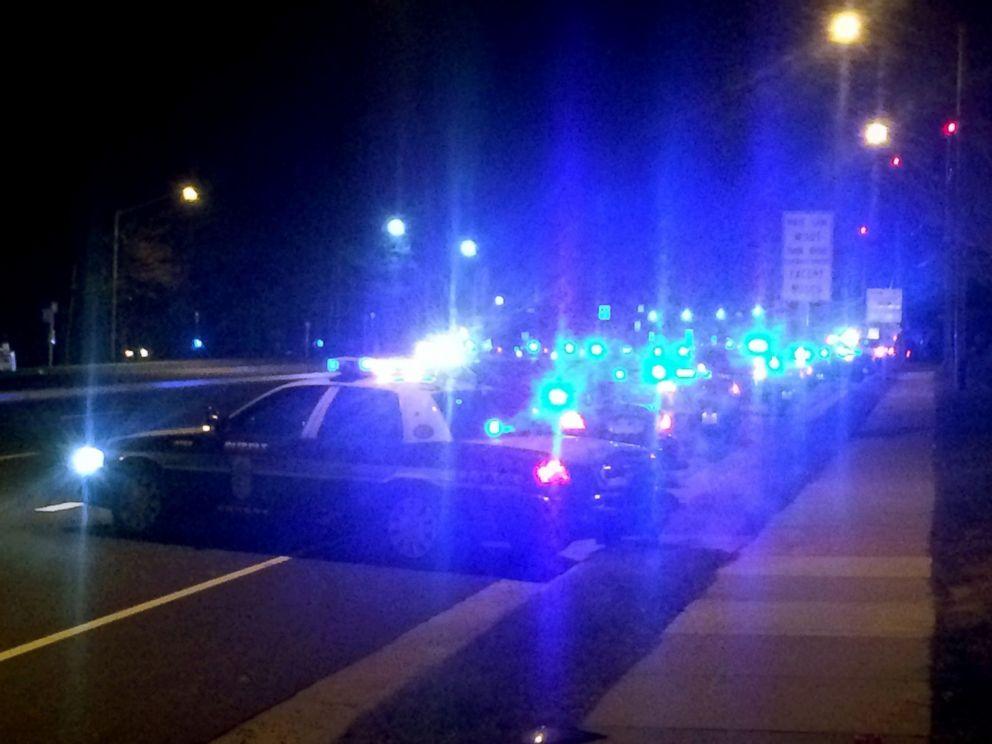 PHOTO: More than 100 patrol cars line the roads outside Inova Fairfax Hospital early Sunday morning, Feb. 29, 2016.