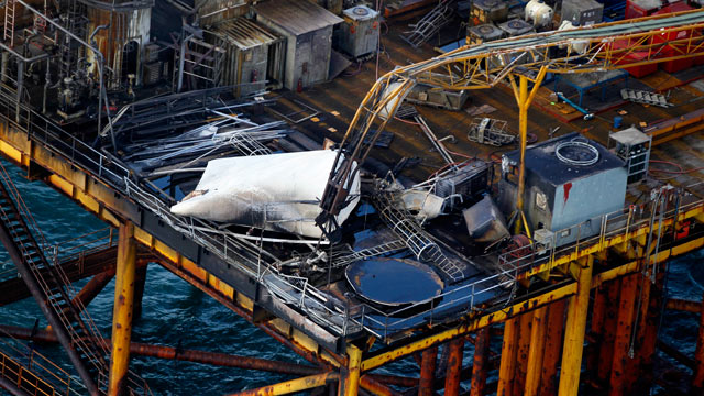 PHOTO: This aerial photograph shows damage from an explosion and fire on an oil rig in the Gulf of Mexico, about 25 miles southeast of Grand Isle, La., Nov. 16, 2012.