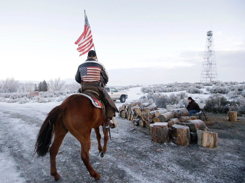 PHOTO: Cowboy Dwane Ehmer, of Irrigon Ore., a supporter of the group occupying the Malheur National Wildlife Refuge, rides his horse at Malheur National Wildlife Refuge Friday, Jan. 8, 2016, near Burns, Ore.