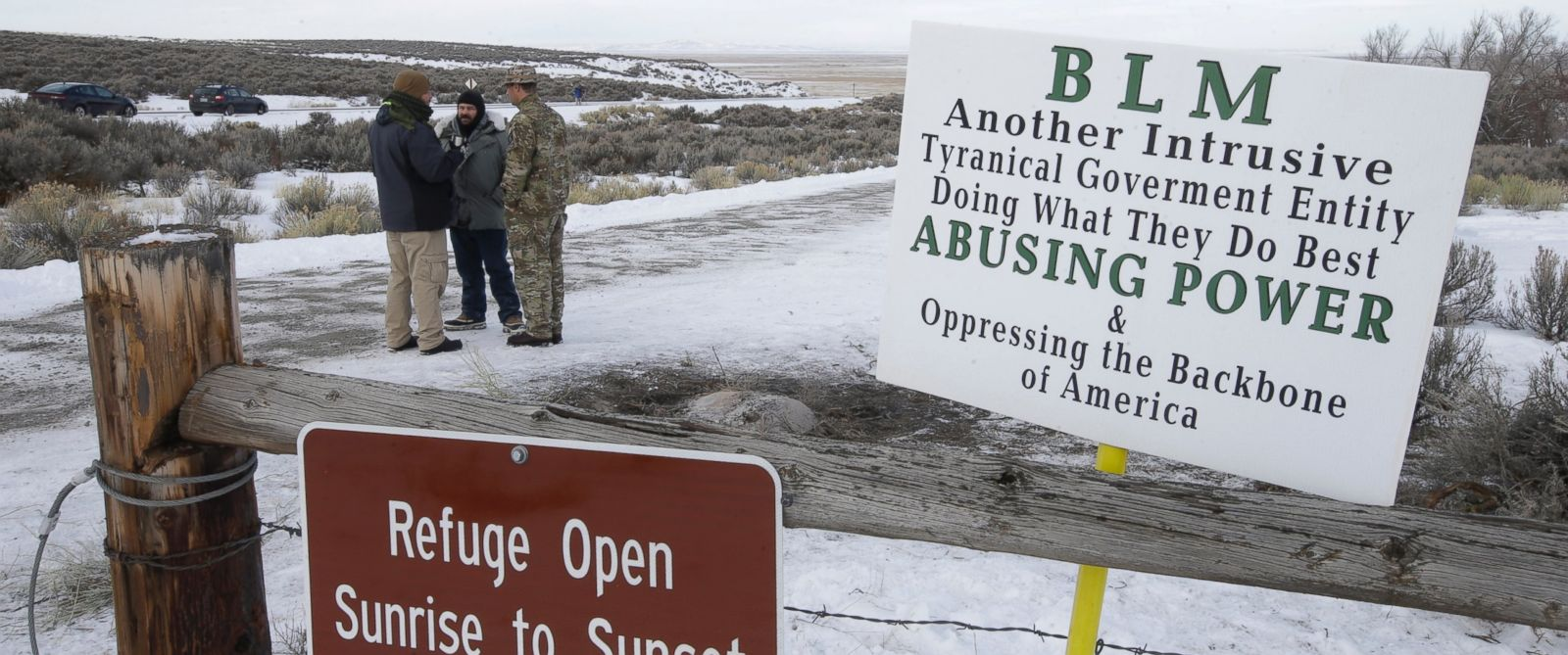 PHOTO: Members of the group occupying the Malheur National Wildlife Refuge headquarters stand guard, Jan. 4, 2016, near Burns, Ore.