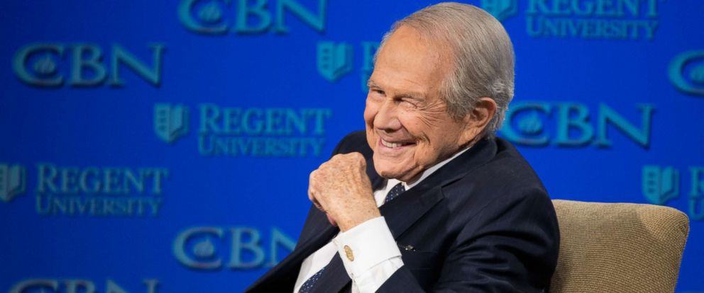 PHOTO: Rev. Pat Robertson listens as Republican presidential candidate Donald Trump speaks at Regent University in Virginia Beach, Va., Wednesday, Feb. 24, 2016.
