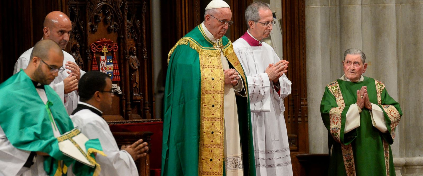 PHOTO: Pope Francis leads an evening prayer service at St. Patricks Cathedral, Thursday, Sept. 24, 2015, in New York.